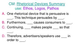 CM:  Rhetorical Devices Summary use:  Ethos, Logos, Pathos