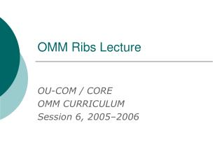 OMM Ribs Lecture