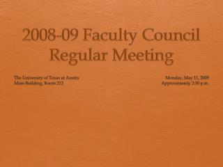2008-09 Faculty Council Regular Meeting
