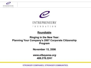 Roundtable Ringing in the New Year: Planning Your Company's 2007 Corporate Citizenship Program