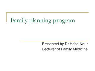 Family planning program