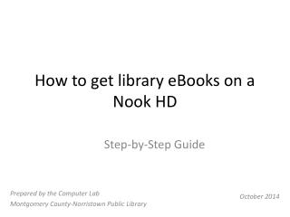 How to get library eBooks on a Nook HD