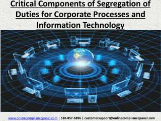 Critical Components of Segregation of Duties for Corporate P
