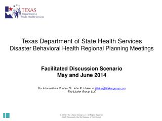 Texas Department of State Health Services Disaster Behavioral Health Regional Planning Meetings