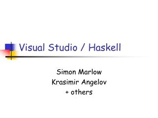 Visual Studio / Haskell