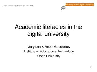 Academic literacies in the digital university