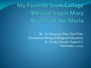 My Favorite Saint Collage Blessed Virgin  Mary Đức Trinh  Nữ  Maria