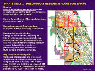 WHATS NEXT…   PRELIMINARY RESEARCH PLANS FOR 2004/05