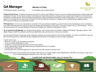 QA Manager (Monday to Friday)