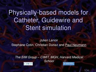 Physically-based models for Catheter, Guidewire and Stent simulation