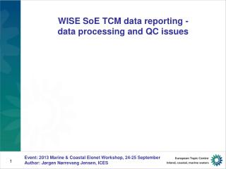 WISE SoE TCM data reporting - data processing and QC issues