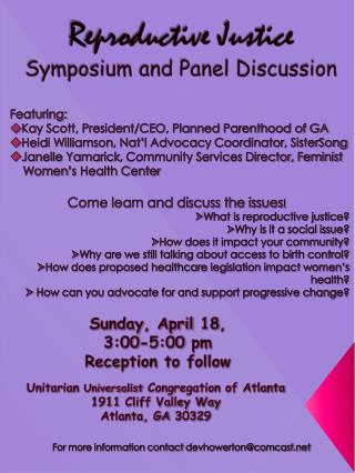 Reproductive Justice Symposium and Panel Discussion