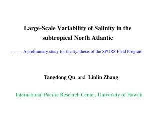 Large-Scale Variability of Salinity in the subtropical North Atlantic