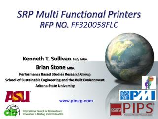 SRP Multi Functional Printers RFP NO.  FF320058FLC