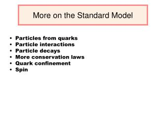 More on the Standard Model