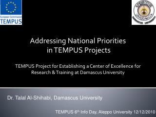 Addressing National Priorities  in TEMPUS Projects