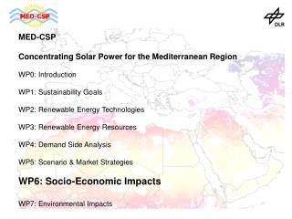 MED-CSP Concentrating Solar Power for the Mediterranean Region  WP0: Introduction