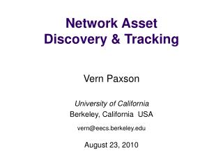 Network Asset Discovery & Tracking