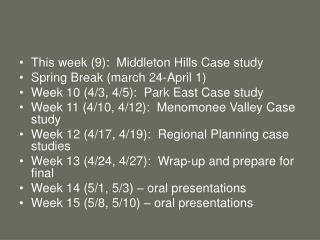This week (9):  Middleton Hills Case study Spring Break (march 24-April 1)