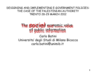 The social and economic value of public information