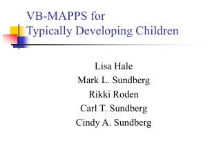 VB-MAPPS for Typically Developing Children