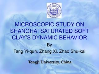 MICROSCOPIC STUDY ON SHANGHAI SATURATED SOFT CLAY'S DYNAMIC BEHAVIOR