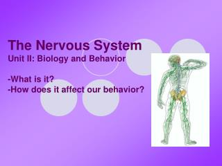 The Nervous System Unit II: Biology and Behavior -What is it? -How does it affect our behavior?