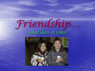 Friendship… what does it take?