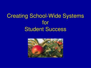 Creating School-Wide Systems for  Student Success