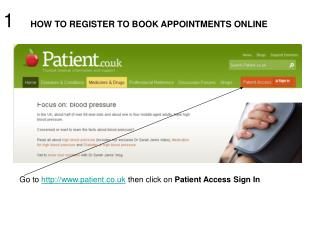 1    HOW TO REGISTER TO BOOK APPOINTMENTS ONLINE