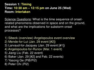Session 1:  Timing Time:  10:30 am – 12:15 pm  on June 25 (Wed)  Room:  Interlaken