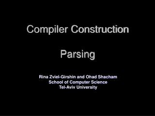Compiler Construction Parsing