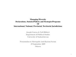 Managing Diversity  Declarations , Statutes/Policies and  Strategies/Programs Of   International, National,  Provincial,