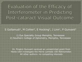 Evaluation of the  Efficacy  of  Interferometer  in  Predicting Post-cataract Visual Outcome