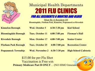 Kinnelon BoroughWed. October 5  4:30-7:30 pm Kiel School