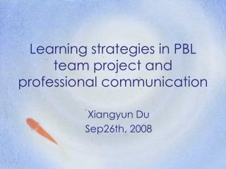 Learning strategies in PBL team project and  professional communication