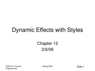 Dynamic Effects with Styles