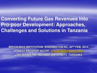 BROOKINGS INSTITUTION, WASHINGTON DC, 20 TH  FEB, 2014 HONEST PROSPER NGOWI;  pngowi2002@yahoo