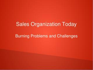 Sales Organization Today