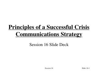 Principles of a Successful Crisis Communications Strategy