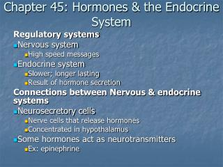 Chapter 45: Hormones & the Endocrine System