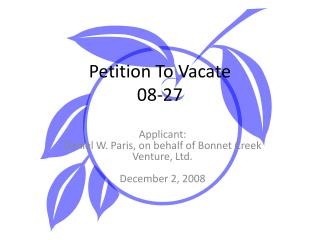 Petition To Vacate  08-27