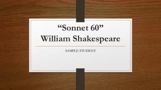 """Sonnet 60"" William Shakespeare"