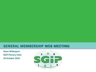 General Membership Web Meeting