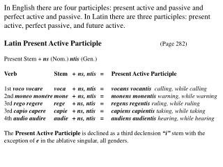 In English there are four participles: present active and passive and