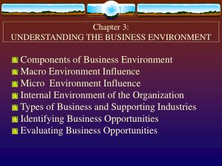 Chapter 3: UNDERSTANDING THE BUSINESS ENVIRONMENT