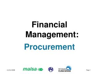 Financial Management: Procurement