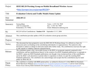 802.20 Evaluation Criteria and Traffic Models Status Update