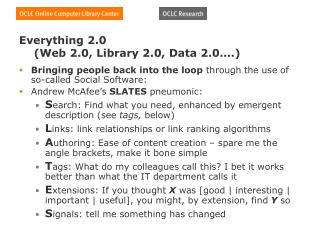Everything 2.0     (Web 2.0, Library 2.0, Data 2.0….)