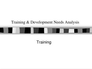 Training & Development Needs Analysis
